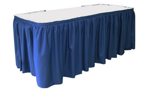 Trade Show Unprinted Shirred Pleat Table Skirt blue