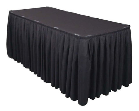 Trade Show Unprinted Accordion Pleat Table Skirt White Black