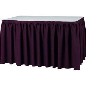 Trade Show Unprinted Accordion Pleat Table Skirt Burgundy