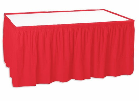 Trade Show Unprinted Shirred Pleat Table Skirt Red
