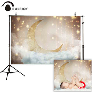 Photography Backdrops and Scenes- Crescent Moon, and Stars - WriteOnMan