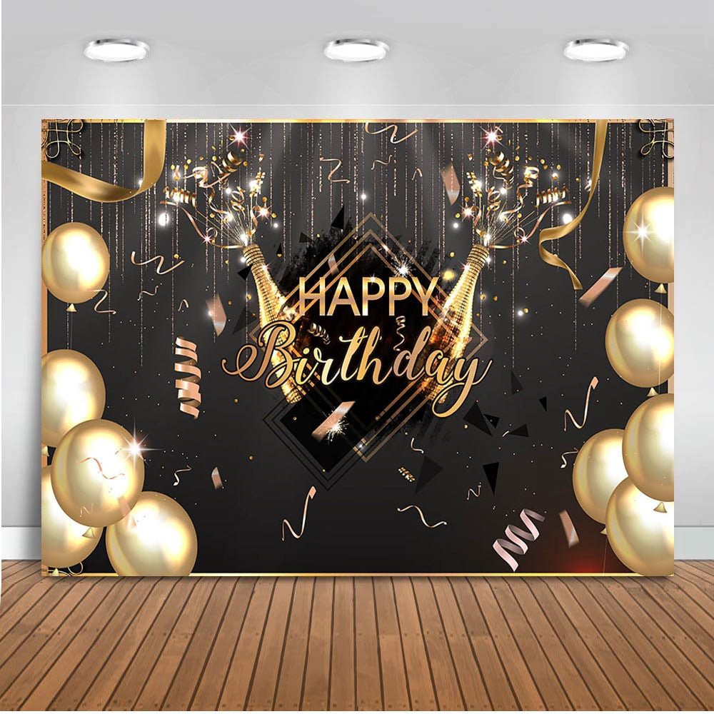 Photography Backdrops and Scenes-Happy Birthday Balloons Champagne - WriteOnMan