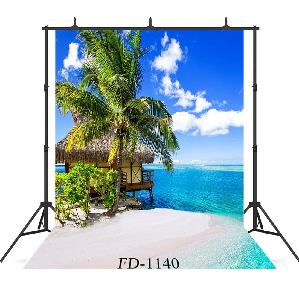 Photography Backdrops and Scenes-Palm Trees and Island Beach - WriteOnMan