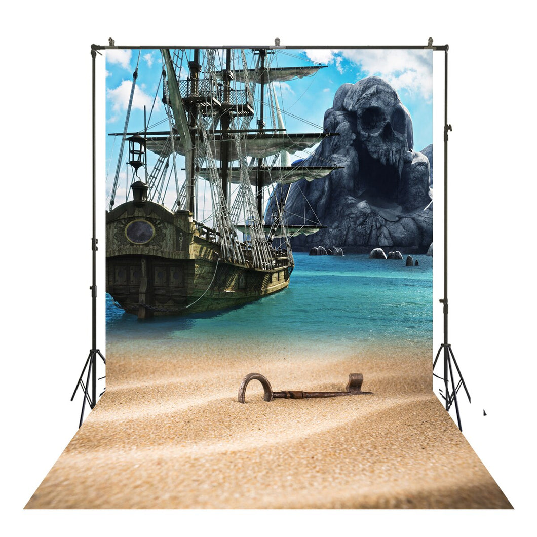 Photography Backdrops and Scenes-Pirate Ship and Sandy Beach - WriteOnMan