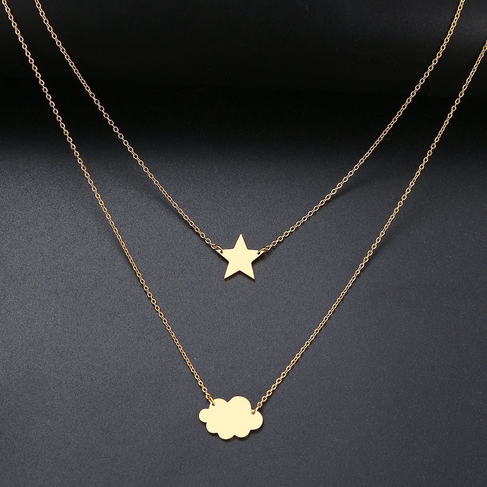 Cloud, Aircraft, Stars, Heart- Pendant Necklace - WriteOnMan