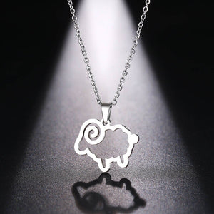 Sheep Pendant Necklace-Stainless Steel - WriteOnMan