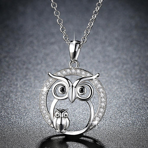 Zircon Owl-Pendant Necklace - WriteOnMan