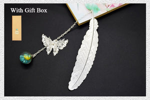 Retro Vintage Metal Bookmark-Feather/Butterfly - WriteOnMan