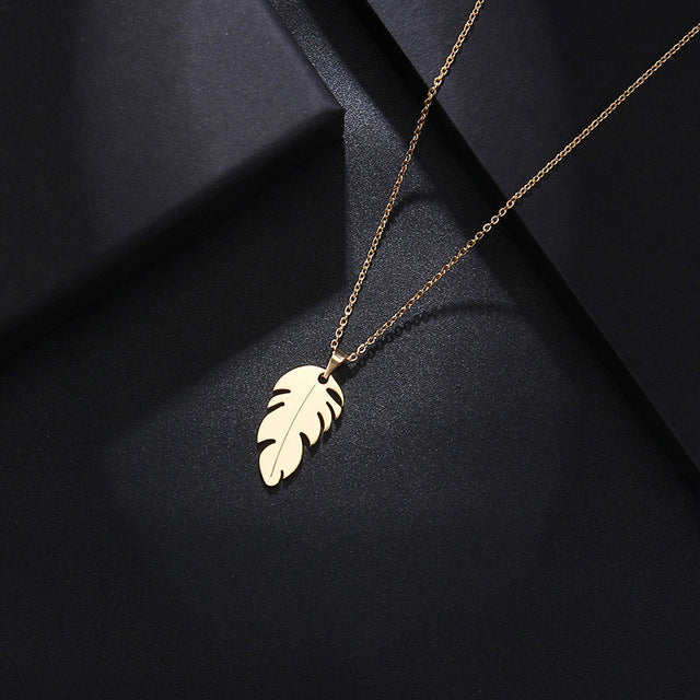 Feather Necklace-Stainless Steel - WriteOnMan