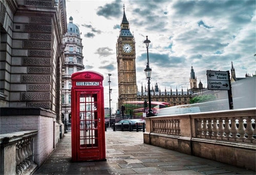 Photography Backdrops and Scenes-Old Telephone Booth, Big Ben, London- - WriteOnMan