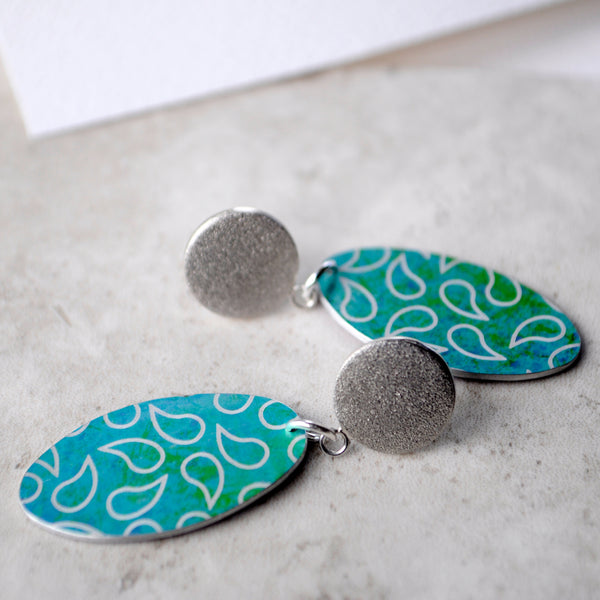Colourful Drop Stud Earrings - Paisley Pins