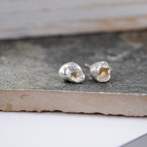 Water Cast Silver Studs - Paisley Pins