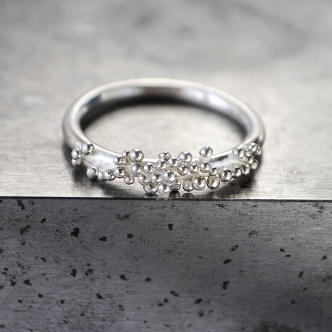 Silver Granulation Ring - Paisley Pins