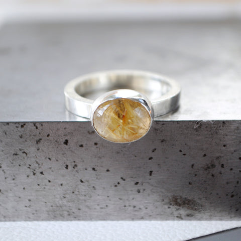 Rutilated Large Quartz Ring - Paisley Pins