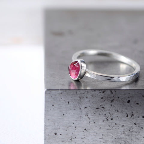 Pink Tourmaline Stacking Ring Set - Paisley Pins