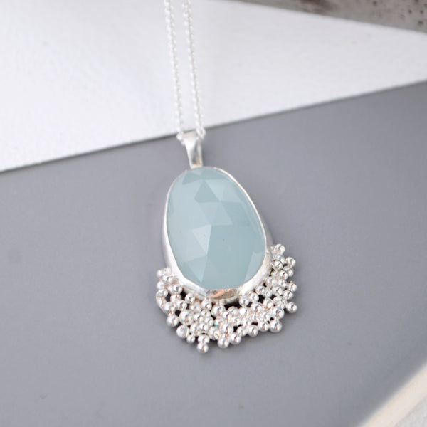Aquamarine Pendant with Silver Granulation - Paisley Pins