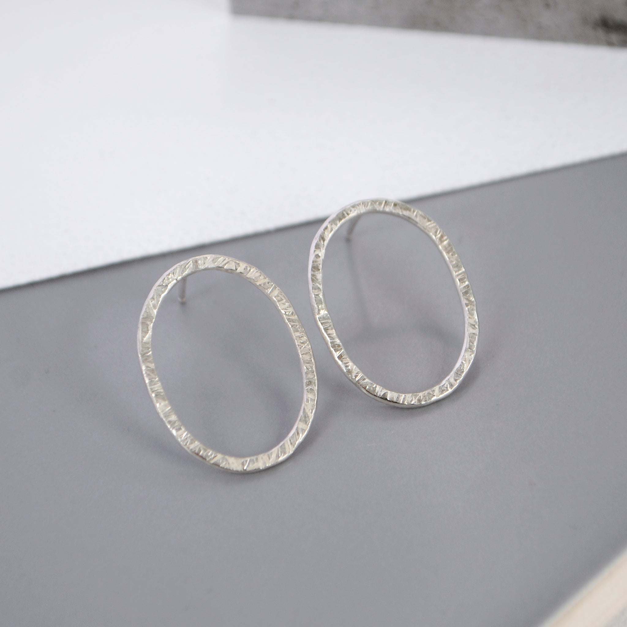 Hammered Oval Studs - Paisley Pins