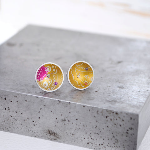 Colourful Dome Studs - Paisley Pins