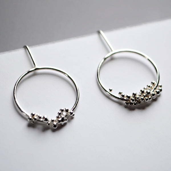 Silver Bubble Hoop Drop Earrings - Paisley Pins
