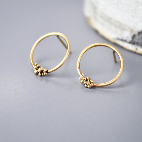 Gold Bubble Hoop Studs Small - Paisley Pins