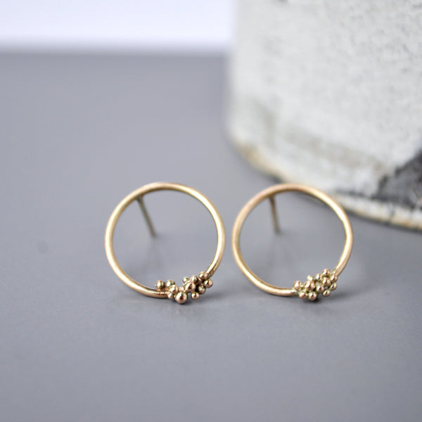 9ct Gold Bubble Hoop Studs Small - Paisley Pins