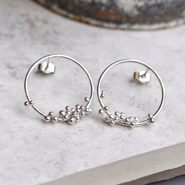 Silver Bubble Hoop Studs Medium - Paisley Pins