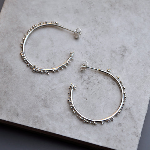 Silver Bubble Hoops - Paisley Pins