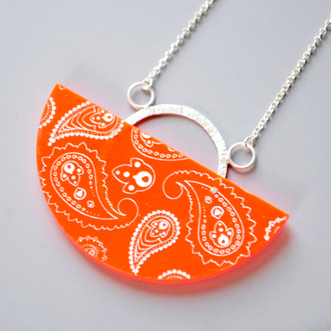 Neon Red Pendant - Paisley Pins