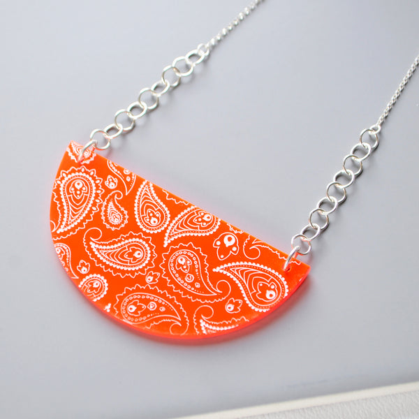 Larger Neon Red Pendant - Paisley Pins