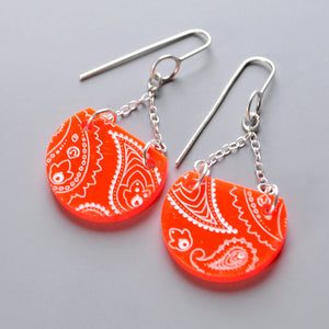 Neon Red Drop Earrings - Paisley Pins
