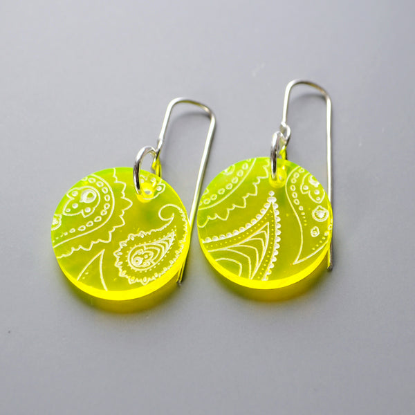 Neon Yellow Drop Earrings - Paisley Pins