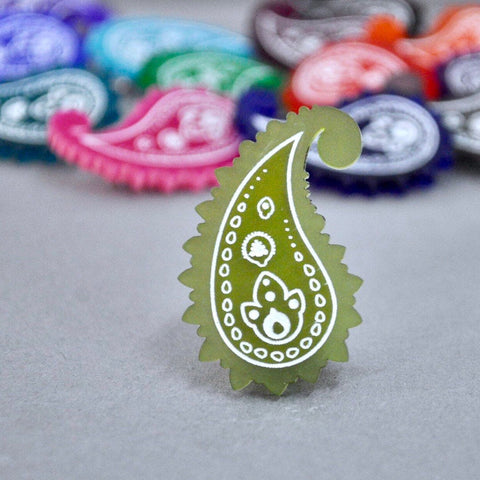 Lime Zest Paisley Pin - Paisley Pins