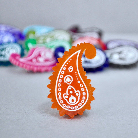 Mandarin Orange Paisley Pin - Paisley Pins