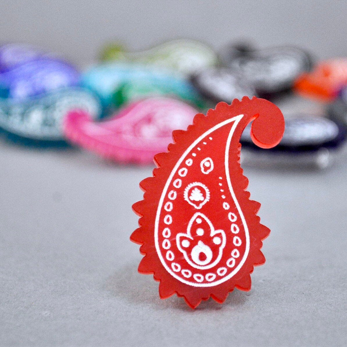 Chilli Red Paisley Pin - Paisley Pins