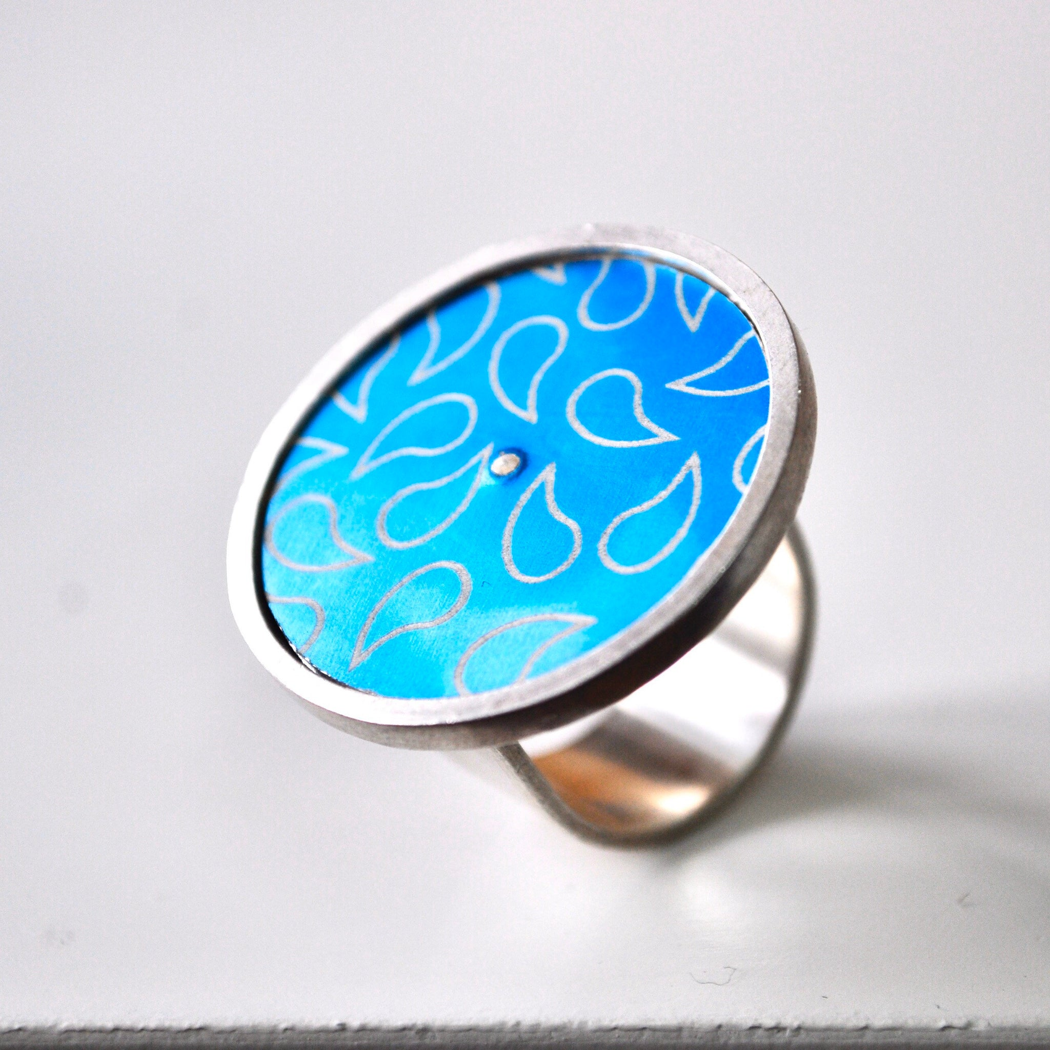 Aluminium & Silver Statement Ring - Paisley Pins