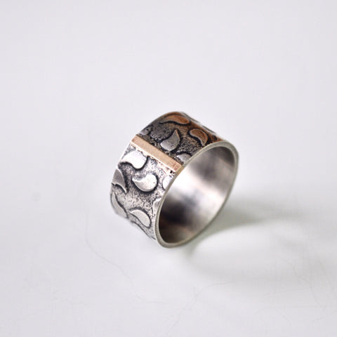 Gold Bar Textured Silver Ring - Paisley Pins