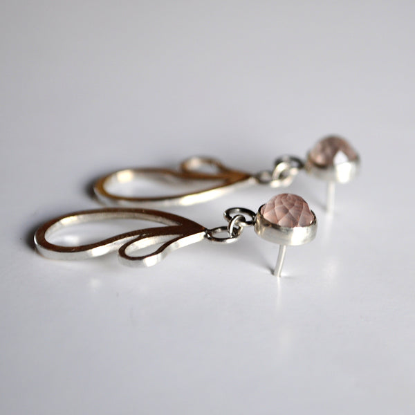 Rose Quartz Paisley Drop Studs - Paisley Pins