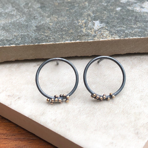 Small Silver & Gold Bubble Hoop Studs - Paisley Pins