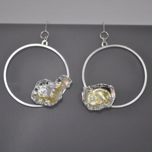 Large Silver Hoop Drop Earrings - Paisley Pins