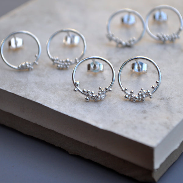 Silver Bubble Hoop Studs Small - Paisley Pins