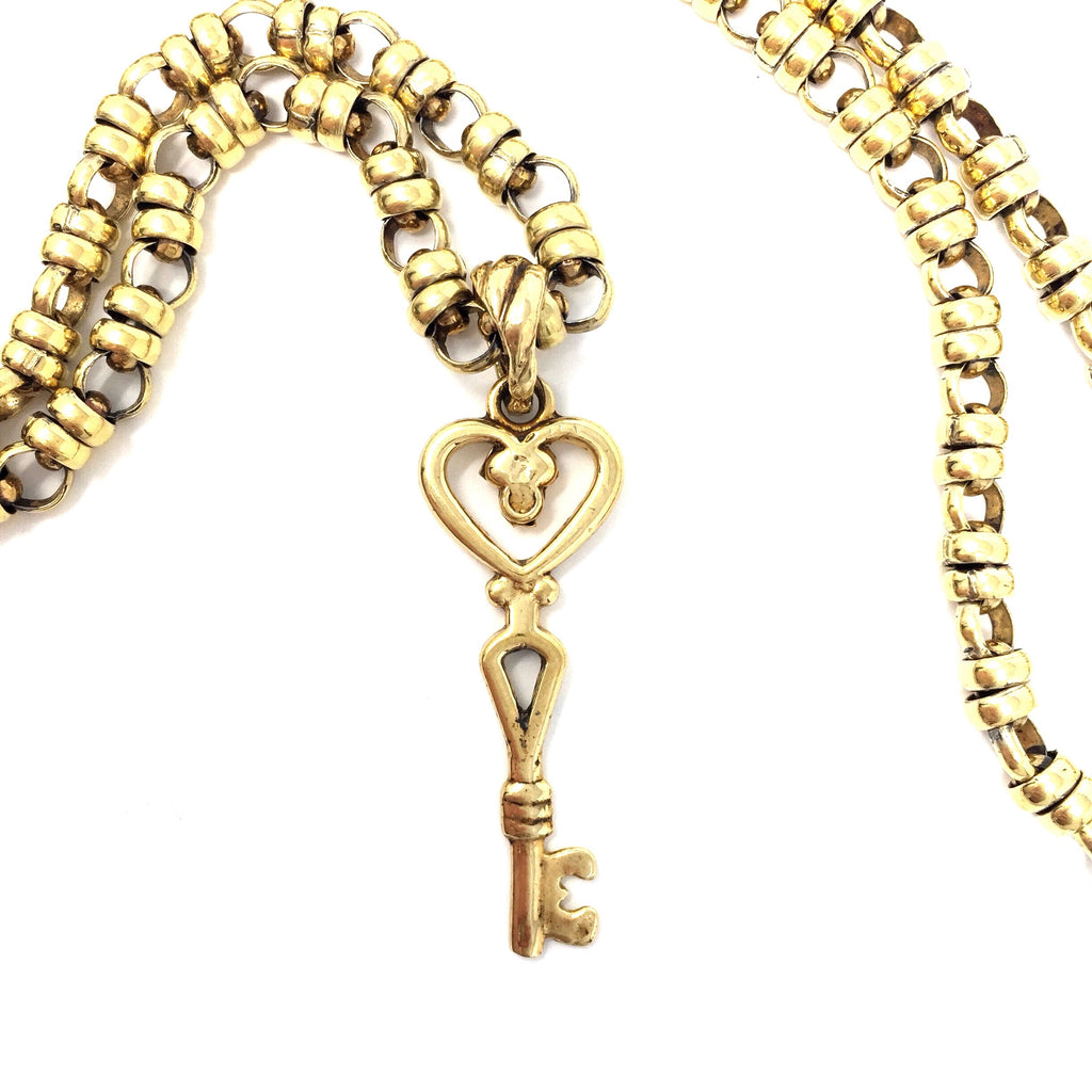 """Key to my heart"" Key Pendant (Antique Gold)"