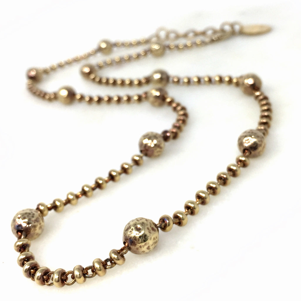 Bubbles Necklace Long (Antique Gold)