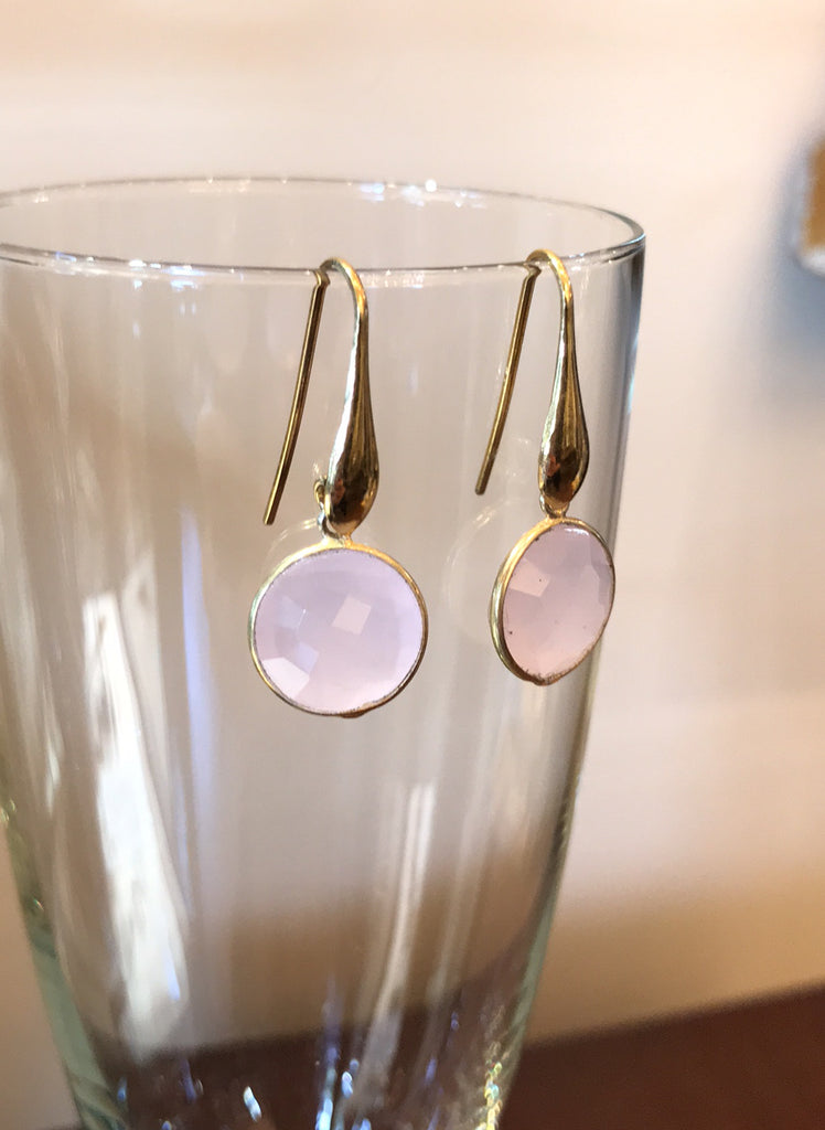 Dolce Vita Earrings Rose Quartz (Antique Gold)