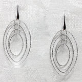 Diamond-Cut Oval DBandCo Earrings (Rhodium)