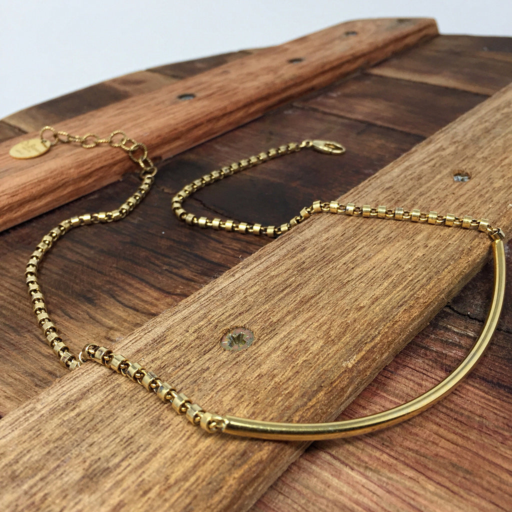 Smooth Bucatini 3mm Necklace in Gold