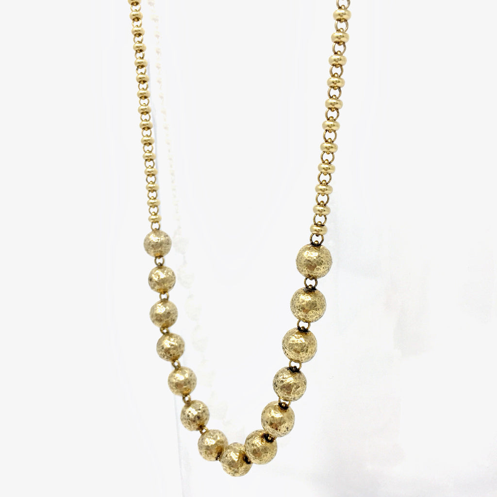 Mezzaluna Ciambelle & Hammered Beads Necklace (A Princess - Antique Gold))