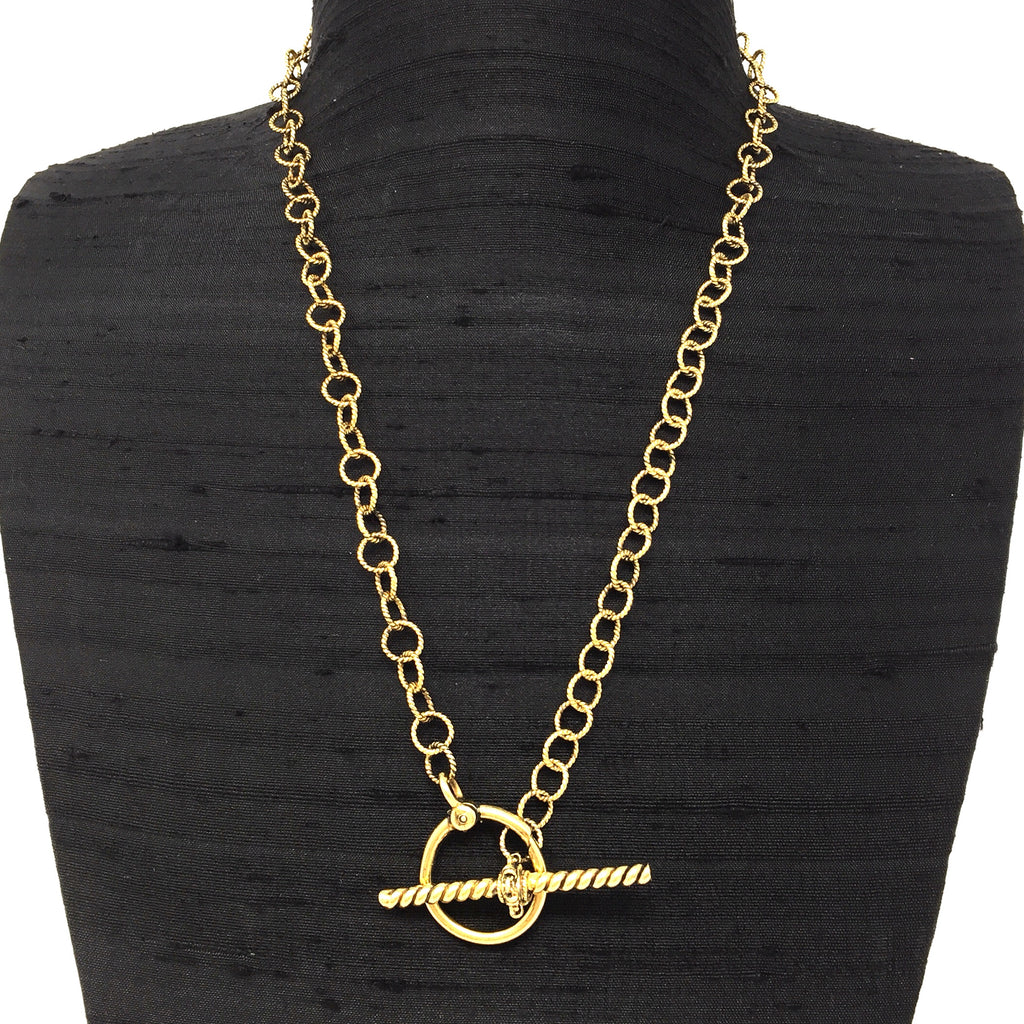 Wispy T-Bar Toggle Necklace (Antique Gold)