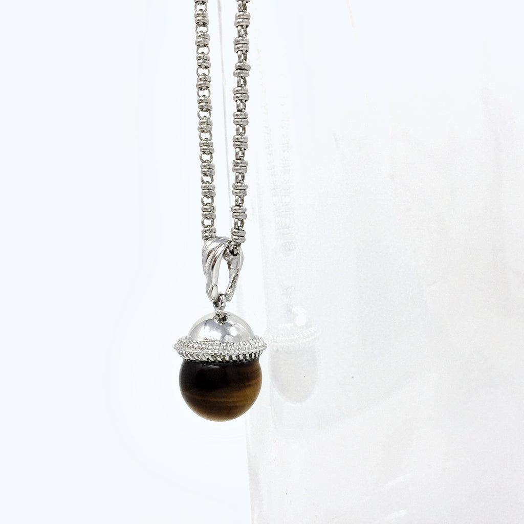 Tiger's Eye Cappellino Pendant (Rhodium)