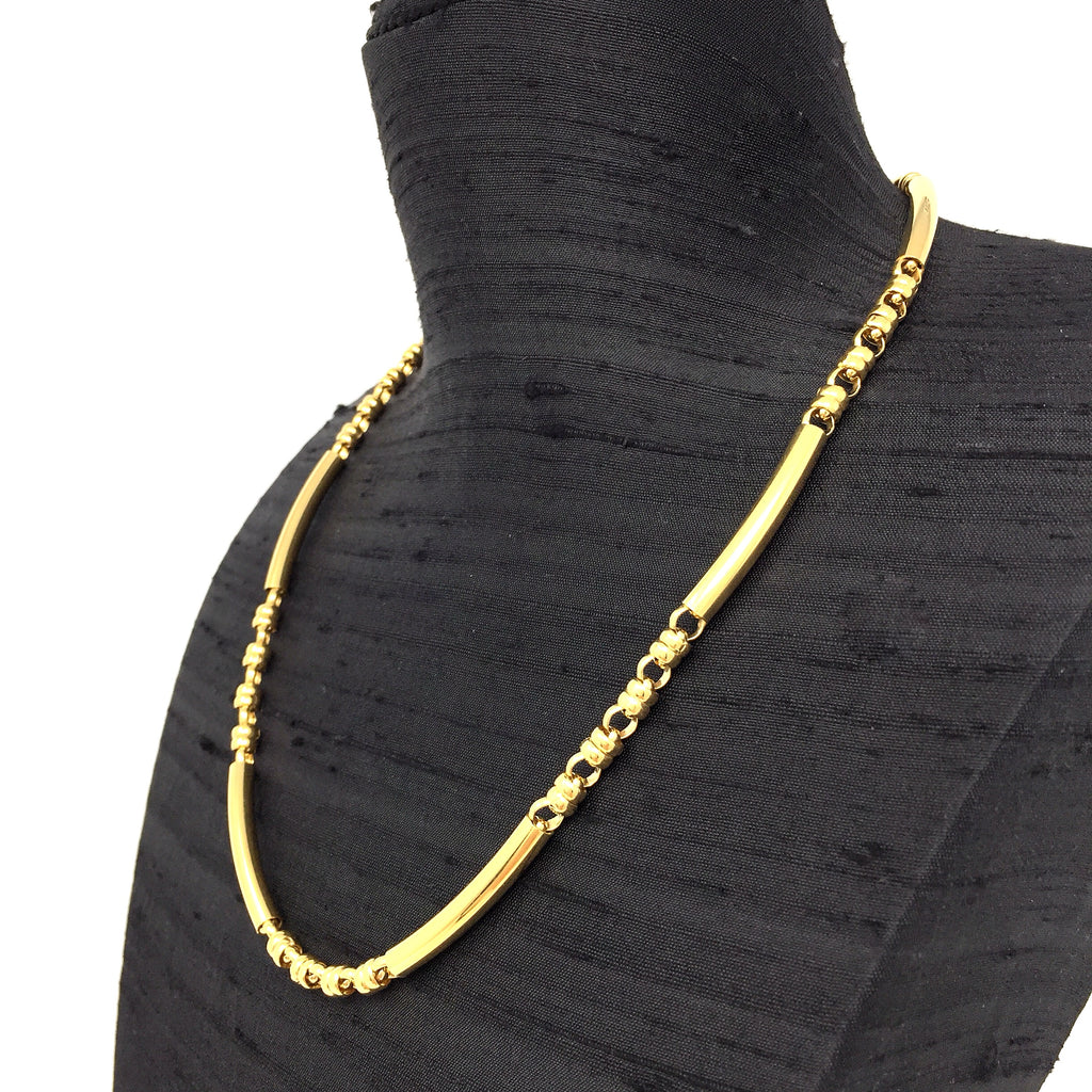 Bucatini Tris Necklace (Smooth - Antique Gold)