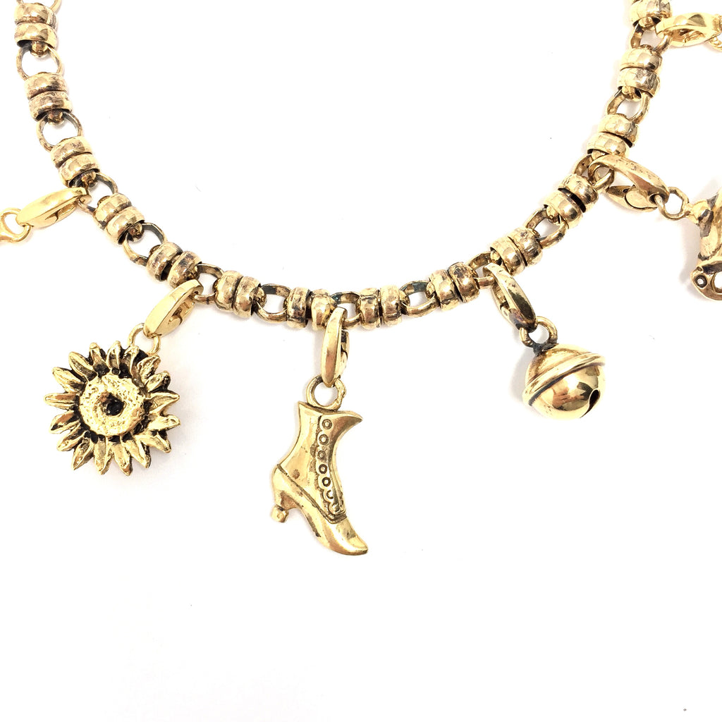 Large Sunflower Charm (Antique Gold)